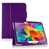 Invero® Premium Hülle Ledertasche umfasst Ständer Feature, Displayschutzfolie und Eingabestift Kugelschreiber für Samsung Galaxy Tab 4 10,1 Zoll SM T530 T531 (Lila / Purple)
