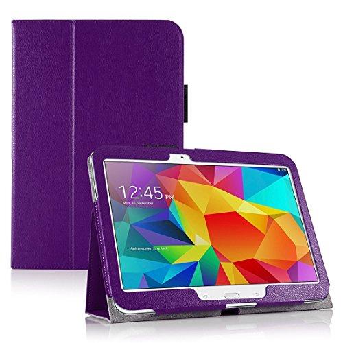 Invero® Premium Hülle Ledertasche umfasst Ständer Feature, Displayschutzfolie und Eingabestift Kugelschreiber für Samsung Galaxy Tab 4 10,1 Zoll SM T530 T531 (Lila / Purple) (Invisible Shield Für Den Kindle)