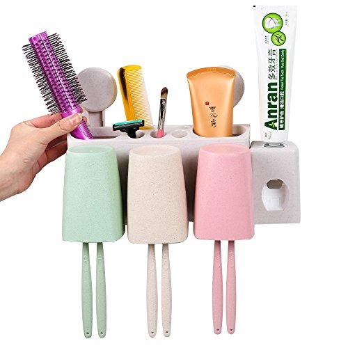 Portacepillos de dientes, Dispensador automático de pasta de dientes Cepillo de dientes montaje en pared Exprimidor de pasta de dientes Tazas de cepillo de dientes Con 3 tazas