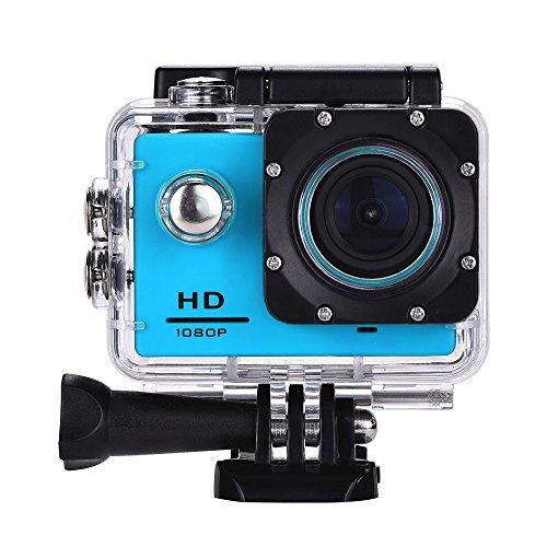 Lyhoon 1080P HD Sport Caméra 2.0 '' imperméable à l'eau sous-marine 30m 120 degrés lentille écran Sport DV Cam DVR avec plusieurs accessoires pour vélo moto Surf Ski Natation Plongée etc. (bleu, 1080P)