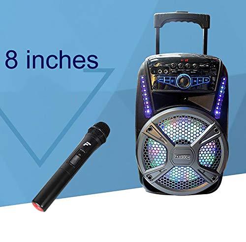 Unbekannt Tragbarer PA-Lautsprecher System, Bluetooth, 8 Zoll Aktiv betrieben Wiederaufladbar, USB, MP3, Eingebauter Trolley Einrichtung,1 Wireless Mikrofone (Kompaktes Aktives Pa-system)