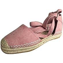 Calzado Chancletas Tacones Zapatos Planos para Mujer Alpargatas Cordones Sandalias de Vacaciones de Verano Zapatos con