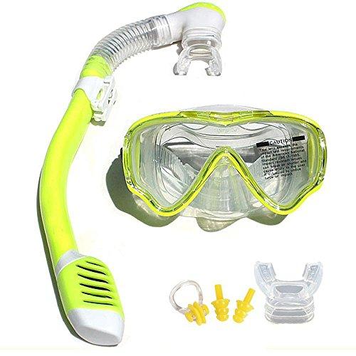 VILISUN Taucherbrille mit Schnorchel Anti-Leck Anti-Fog Schnorchelset Tauchset aus Gehärtetem Glas, ideal für Tauchen, Schnorcheln und Schwimmen, Gelb Set (Kinder)
