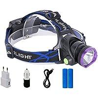 Lightess Lampe Frontale Puissante Rechargeable LED 2200 Lumens Etanche Lampe Torche avec 3 modes XM-L T6 pour Camping Pêche Chasse Cyclisme Course à Pied Randonnée-Chargeur EU