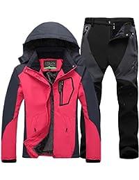 6b5a329955a Qitun Mujer de Trekking Impermeable Deportivos Transpirable Pantalones  Chaqueta de Esquí Impermeable Chaqueta de Nieve Excursionismo
