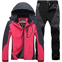 Qitun Mujer de Trekking Impermeable Deportivos Transpirable Pantalones Chaqueta de Esquí Impermeable Chaqueta de Nieve Excursionismo