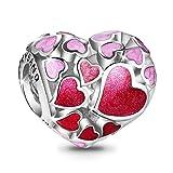 TinySand Nuovi Charms Pandora Stytle in argento sterling 925, cuore charm charm con cuore rosso straordinario delcium compatibile con bracciale Europpenne