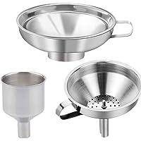 Suprcrne Acciaio Inox Imbuto  3 Pezzi Imbuto da Cucina con Filtro Canning Set di Imbuti per Vino Ideale per Il Trasferimento di Spezie Liquido Polvere Fagiolo Marmellata Lavabile in lavastoviglie