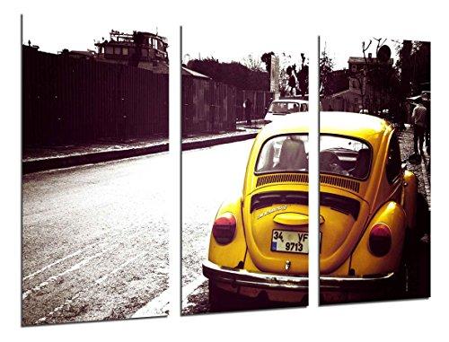 Cuadro Moderno Fotografico Beatle, Coche Escarabajo Amarillo, Coche Vintage, 97 x 62 cm, Ref. 26461
