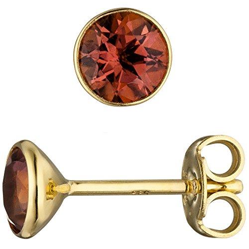 Orecchini a perno gioielli orecchini rosa rotonda TURMALINE umrahmt in oro giallo 585