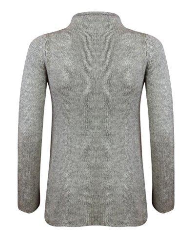 Maglione da donna lungo e largo con maglia a trecce e collo alto Grigio chiaro