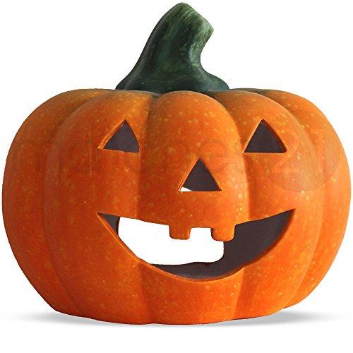 matches21 Jack O'Lantern Halloween Kürbis Windlicht Laterne 21x19 cm Herbst Dekoration Halloweendeko Türkürbis Ton
