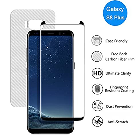 Galaxy S8Plus Protection d'écran, 3H protection d'écran en verre trempé premium [Case-friendly] [3d Couverture] [Edge to Edge] Épaisseur Cristal Clair avec gratuit Dos en fibre de carbone film pour Samsung Galaxy