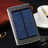 Solar Power Bank 6000mAh Tragbares Ladegerät für Handy superdünn mit Solarzellen Externes Backup Akku Power Pack für Reisen Wandern Notfall Verwenden, schwarz
