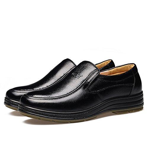 GRRONG Herren-Leder-Schuhe Mittelalter Echtes Leder Atmungsaktiv Schwarz Black