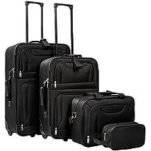 TecTake Set de 4 valises Trolley Textile | poignée télescopique | avec roulettes | Noir
