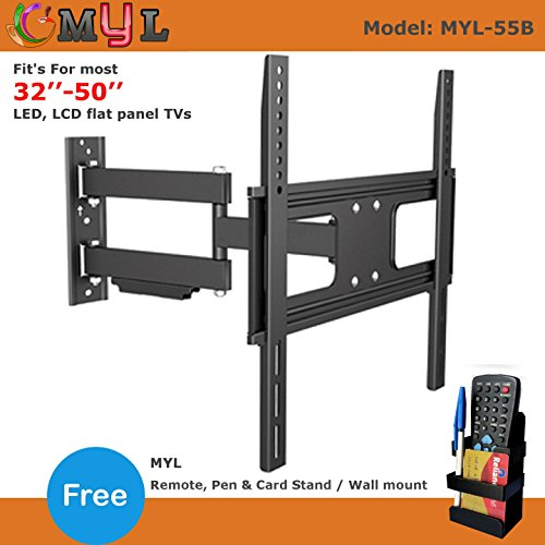 "MYL Imported 6 Way Swivel Tilt TV Wall mount for LCD/LED TV's upto 32"" to 55"" inch MYL-55B + Free MYL Remote Stand RMS-01"
