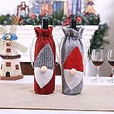 UKE Rotwein-Flaschen-Beutel, Neueste Weihnachtsdekoration Weinflasche Abdeckung Taschen Weihnachten Hut-Entwurf Geeignet Für Weihnachten Home Party (2-Pack)
