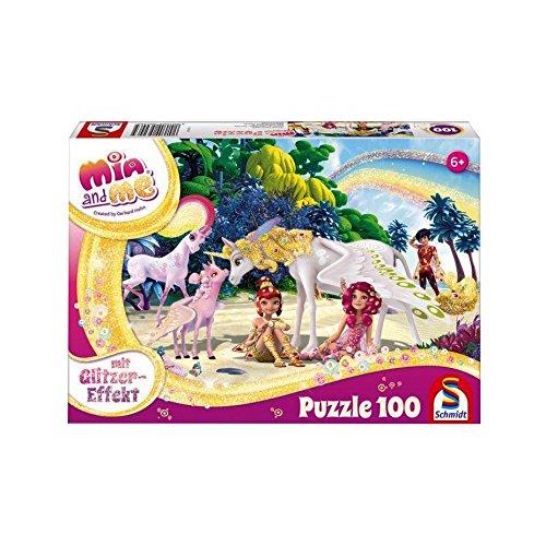 Schmidt Spiele Puzzle 56246 Mia & Me, Glitzerpuzzle, Am Strand, 100 Teile