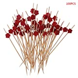 Manyo Einweg-Zahnstocher aus Bambus für Party Salat – 100 Stück – Pflaumenblüte, Bambus, rot, 12cm/4.72in