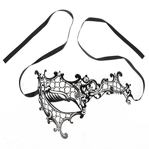 XingYu Qualität Mitternacht Schwarz Venetianische Maskerade Maske (19 * 7cm/7.48 * 2.75inches, Silber Schwarz) (Schwarz Und Silber Maskerade Masken)