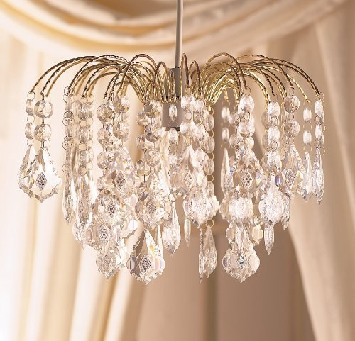 Elegant Large Gold Frame Waterfall Clear Acrylic Crystal Droplet Ceiling Light Fitting Pendant by Dove Mill Lighting (Dove Frame)