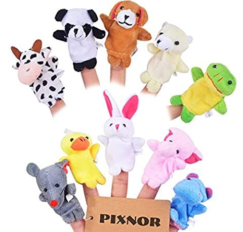 Pixnor 10 Piece Cartoon Animal Plush Finger Puppets Finger Toys for Children Kids
