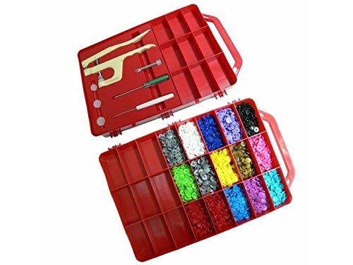 BabySnap Koffer Rot BabySnaps Koffer mit Zange, Werkzeuge Plus 300 Snaps inklusiv Sterne und Herzen (BabySnap Zange)