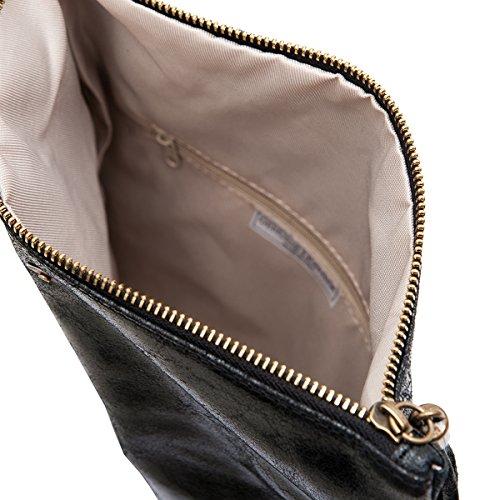 Clutch ,Borse a spalla (28 / 19 / 4 cm ) in pelle Mod. 2059 by Fashion-Formel nero