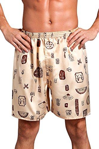 Dolamen Herren Schlafanzughose Hose Shorts kurz, 2 Stück Herren Satin unterwäsche boxershorts Nachtwäsche Trunk Pyjamahose Bottoms mit elastischem Bund zum Schlafen & Freizeit (Large, Gold)