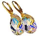 Swarovski Kristalle Einzigartige Schöne Ohrringe Anhänger Kette Aurora Senti vergoldet Sterling Silber Zertifikat