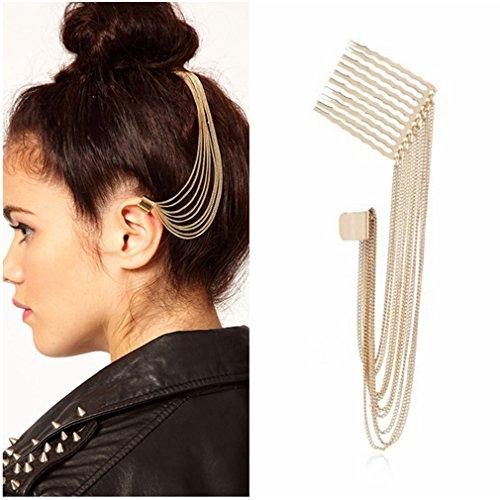 ike Quasten Haar-Kamm-Ohr-Stulpe-Ohrring Ohrkopfstück Nicht (Gold-ton-ketten)
