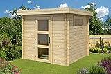 Gartenhaus G1-28 mm Blockbohlenhaus - Grundfläche: 4,60 m², Flachdach