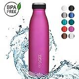 720°DGREE Borraccia Acqua Termica 'milkyBottle' - 500 ml, Fucsia, Pink   Bottiglia Acciaio Inox Isolamento a Vuoto   Senza BPA