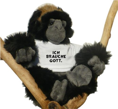Gorilla Plüschtier mit T-shirt mit Aufschrift Ich brauche Gott. (Schwarzer Affe Gottes)