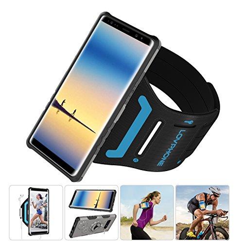 LOVPHONE Samsung Galaxy Note 8Armband & Armour Case Set Multifunktionelle Sport Sportarmband + Premium Schutzhülle mit Ständer für Galaxy Note 8, weiches Gummiband mit Schlüsselhalter, Gunmetal-S