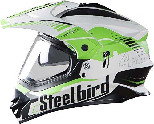 STEELBIRD SB-42 AIRBORNE MOTOCROSS HELMET GLOSSY FINISH WITH PLAIN VISOR (LARGE 600 MM, GLOSSY WHITE WITH GREEN)