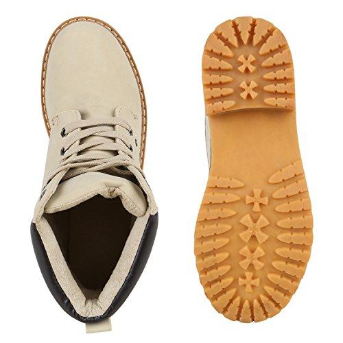 UNISEX Damen Herren Worker Boots Outdoor Schuhe Schnürstiefel Creme Creme