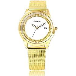 Longqi Women Crystal Fashion Watches Alloy Waterproof Quartz Wristwatches