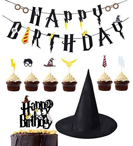 LUCK COLLECTION Harry Potter Party Supplies Geburtstag Banner Cupcake Toppers Zauberer Hut Cake Topper für Geburtstag Dekorationen