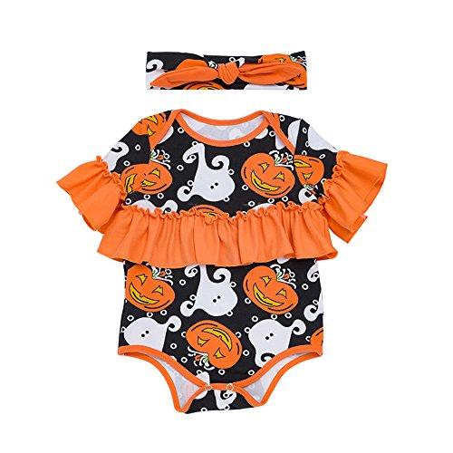 Baby Jungen Mädchen Neugeborenen Langarm Kürbis Drucken Strampler Overall Kleidung und Stirnband 2 Stück Outfits Halloween Karneval Party Kleid von ()