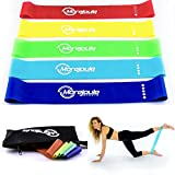 Loop Fitnessband Set **5Stars** mit Anleitung und Tasche, 5x Widerstandsbaender Latexfrei, Miniband, Gymnastikband Set, Trainingsbaender, Resistance Band, Ideal Für Crossfit, Pilates und Reha