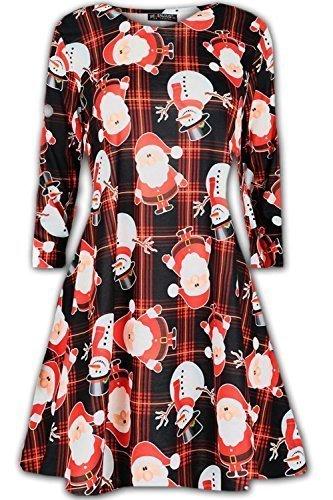 Damen Weihnachten Ausgestellt Swing Kleid Damen Lustiges Weihnachten Schneemann Santa Top Kleid - Santa Schneemann Schwarz Schottenkaro, S/M (Lustig Kleid)