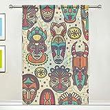XiangHeFu Rideau Transparent en Tulle Vintage Tribal Masque coloré Ethnique Voilage de fenêtre pour Chambre à Coucher, 137 x 178 cm (l) 1 Panneau, Polyester, Image 1195, 55x84x1(in)