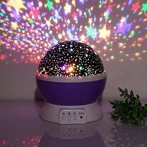 4tens Sun and Star Lighting Lamp 4 LED Bead 360 Degree Romantic Room Rotating Cosmos Star Projector with 59 Inch USB Cable, Light Lamp Starry Moon Sky Night Projector Kid Bedroom Lamp for Christmas