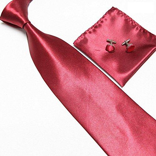 cravate-pochette-bouton-de-manchettes-satinee-bordeaux-neuf