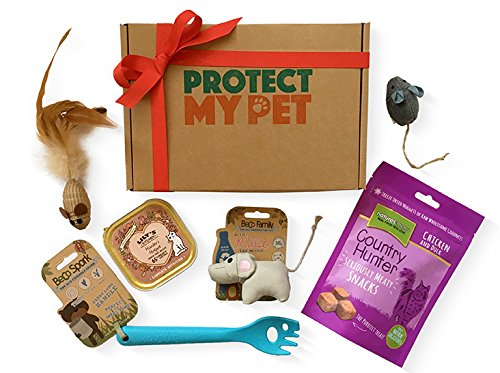 Protect My Pet Cat Gift Box filled with natural & ethically sourced treat & toys