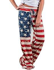 Pantalons baggy Elyseesen Femmes drapeau américain cordon large jambes pantalons leggings