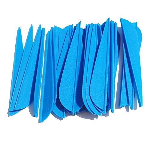 ZSHJG 100pcs Pfeilfedern 3 Zoll Kunststoff Pfeil Befiederung Gummifedern Kunststoff Federn für Pfeile Bogenschießen Pfeil Vane für Jagd DIY Pfeile Carbonpfeile (Blau)