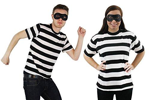 ILOVEFANCYDRESS EINBRECHER RÄUBER KOSTÜM VERKLEIDUNG Paare-T-Shirt+Augen Maske=IN VERSCHIEDENEN GRÖSSEN - Räuber Kostüm Maske